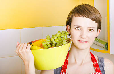 Lovely Young Woman Holding Bowl Of Fruit Salad Art Print