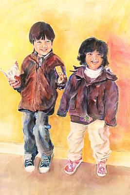 Painting - Lovely,cute And Happy by Khalid Saeed
