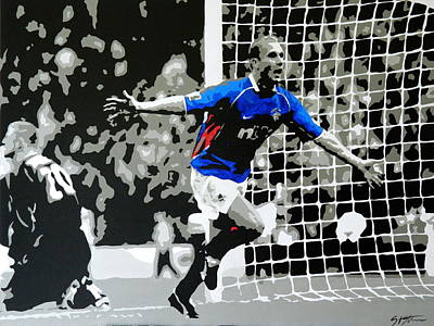 Ally Painting - Lovenkrands Scottish Cup Final by Scott Strachan
