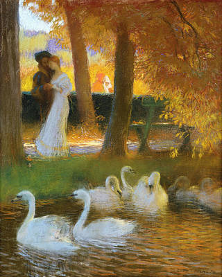 Lovers And Swans  The Autumn Walk Art Print