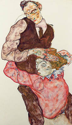20th Drawing - Lovers by Egon Schiele