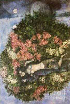 Lovers In The Lilacs Art Print by Marc Chagall