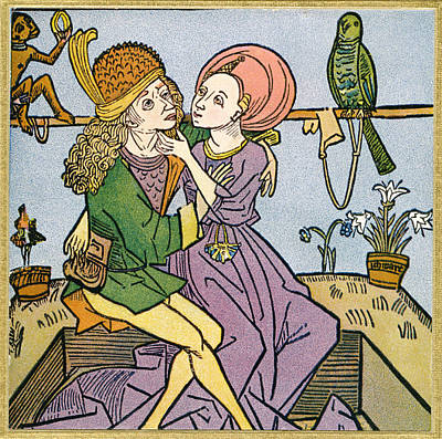 Caress Drawing - Lovers In The Middle Ages. From by Vintage Design Pics