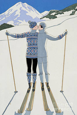 Mountain Snow Landscape Painting - Lovers In The Snow by Georges Barbier
