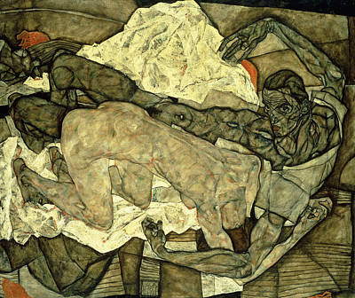 Figurative. Lady Painting - Lovers  Man And Woman I by Egon Schiele