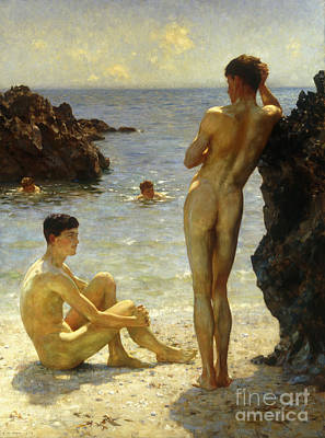 On The Beach Painting - Lovers Of The Sun by Henry Scott Tuke
