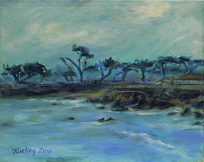 Painting - Lovers Point Pacific Grove California Landscape 17 by Xueling Zou