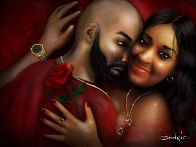 Digital Art - Lovers Portrait by Dedric Artlove W