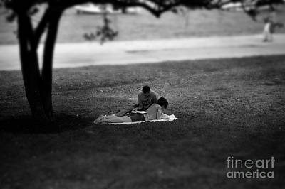 Frank J Casella Royalty-Free and Rights-Managed Images - Lovers Reading by the Lake by Frank J Casella