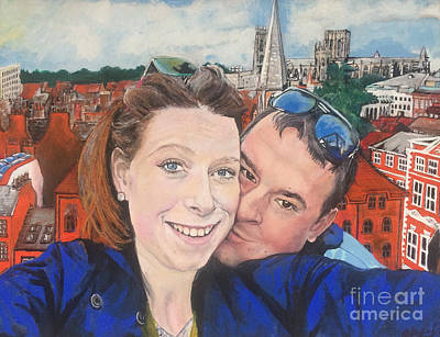 Painting - Lovers Selfie In York, England by Michelle Deyna-Hayward