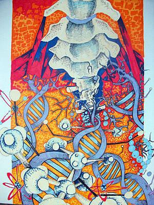 Molecule Drawing - Love's Anatomy Pt.1 by Beka Burns