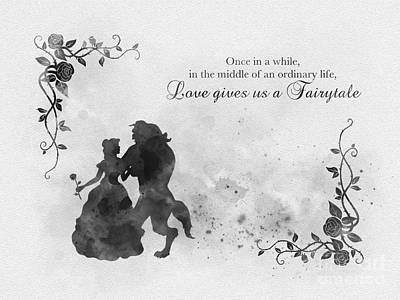 Flowers And Roses Mixed Media - Loves Gives Us A Fairy Tale Black And White by Rebecca Jenkins