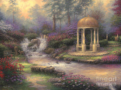 Waterfalls Painting - Love's Infinity Garden by Chuck Pinson