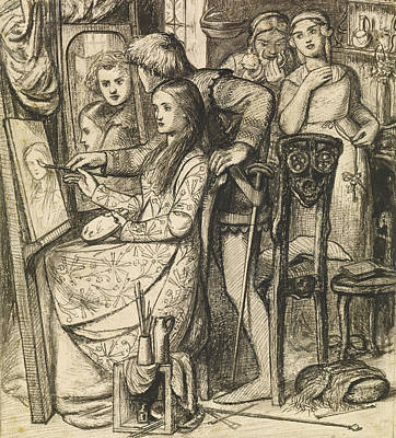 Mirror Drawing - Love's Mirror Or A Parable Of Love by Dante Gabriel Rossetti