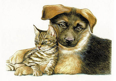 Painting - Loving Cat And Dog by Johannes Margreiter