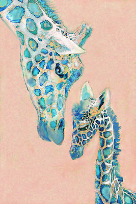 Loving Giraffes Family- Coral Art Print by Jane Schnetlage