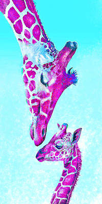 Digital Art - Loving Giraffes- Magenta by Jane Schnetlage