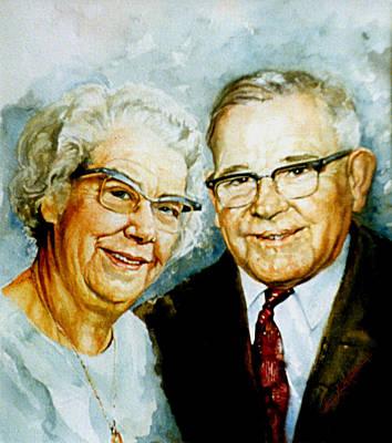 Painting - Loving Grandparents by Hanne Lore Koehler
