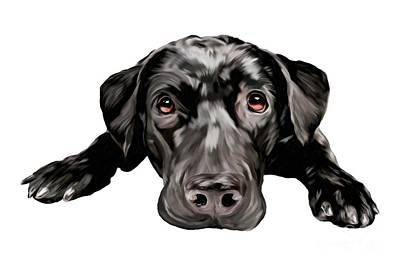 Retrievers Digital Art - Loving Lab by Amber Kholer