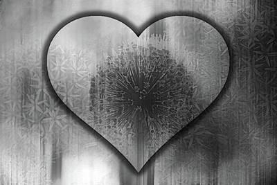 Mixed Media - Loving Light Romantic Heart Black And White by Georgiana Romanovna