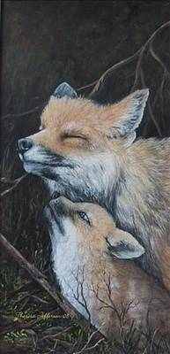 Fox Kit Painting - Loving Mom by Theresa Jefferson