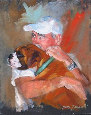 Portrait Of Dog Painting - Loving Roxie by Laura Lee Zanghetti