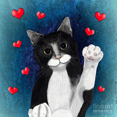 Digital Art - Loving Tuxedo Cat by Methune Hively