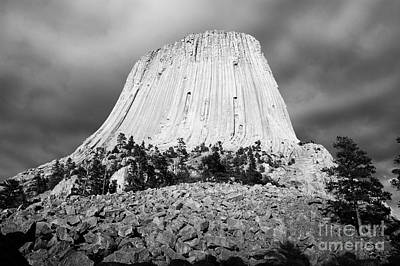 Great Outdoors Photograph - Low Angle Devils Tower National Monument Wyoming Usa Black And White by Shawn O'Brien