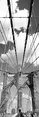 Low Angle View Of A Bridge, Brooklyn Bridge, Manhattan, New York City, New York State, Usa Art Print by Panoramic Images