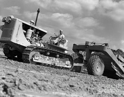Low Angle View Of Bulldozer, C.1950s Art Print