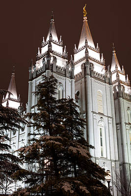 Mormon Temple Photograph - Low Angle View Of The Mormon Temple by Panoramic Images
