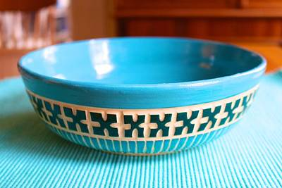 Ceramic Art - Low Carved Bowl In Turquoise And Green by Polly Castor