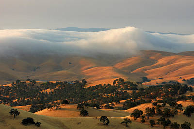Mt. Diablo Photograph - Low Clouds Over Distant Hills by Marc Crumpler