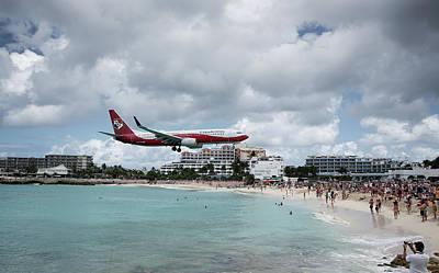 Photograph - Low Landing At Sonesta Maho Beach by Nick Mares