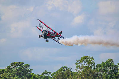 Photograph - Low Level Biplane Approach by Tom Claud