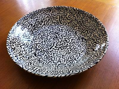 Ceramic Art - Low Squiggly Bowl by Polly Castor