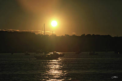 Photograph - Low Sun Glows Over Boats Anchored by Mike M Burke