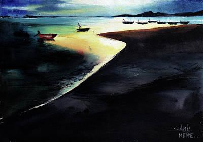 Anil Nene Painting - Low Tide by Anil Nene