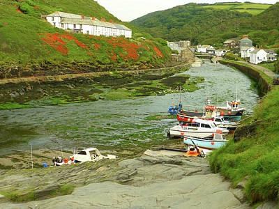Coastal Village Photograph - Low Tide At Boscastle by Connie Handscomb