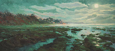 Beach Oil Painting - Low Tide At Moonlight by Steve Henderson