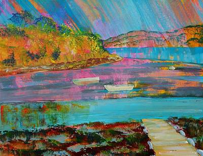 Painting - Low Tide At Salcombe In The South Hams by Mike Jory