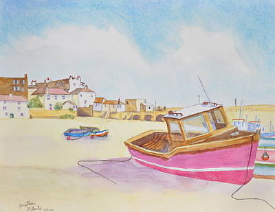 Low Tide Boat On The Beach Art Print by Jonathan Galente