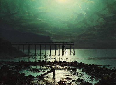 Reflecting Water Painting - Low Tide By Moonlight by WHJ Boot