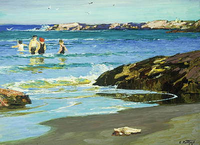 People On Beach Wall Art - Painting - Low Tide by Edward Henry Potthast