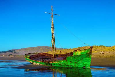 Low Tide Green Fishing Boat Art Print