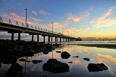 Low Tide Reflections At The Pier  Art Print