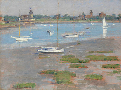 Yacht Club Painting - Low Tide, Riverside Yacht Club by Theodore Robinson