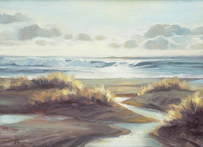 Beach Oil Painting - Low Tide by Steve Henderson