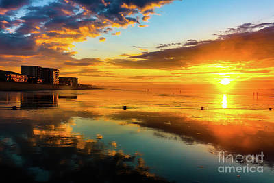 Background Photograph - Low Tide Sunrise by Claudia M Photography
