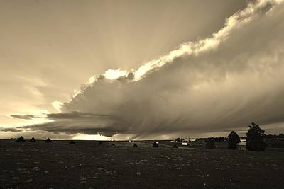 Photograph - Low-topped Supercell Black And White  by Ed Sweeney